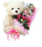 Seasonal Teddy with Love Bouquet