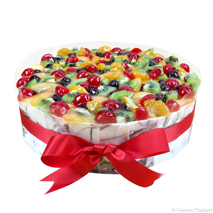 Cake With Fruits On Top : Deluxe Fresh Fruits cake Cakes Flowers2Thailand
