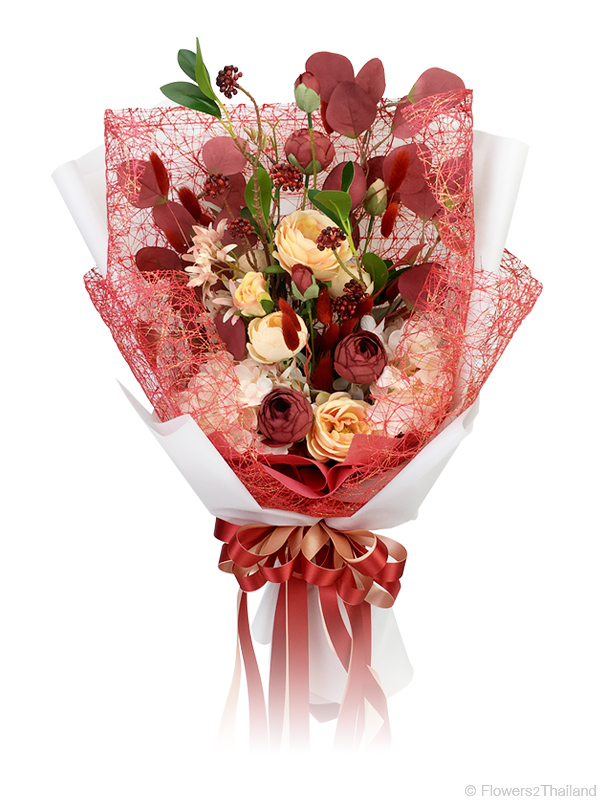 Elegant Red Bouquet Artificial Flowers Flowers2thailand